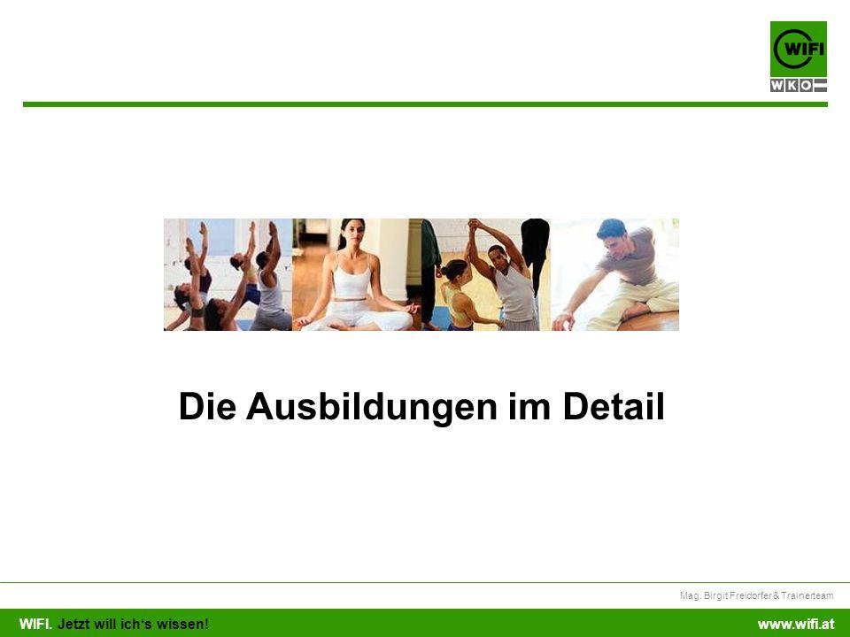 WIFI. Jetzt will ichs wissen! Mag. Birgit Freidorfer & Trainerteam www.wifi.at Die Ausbildungen im Detail