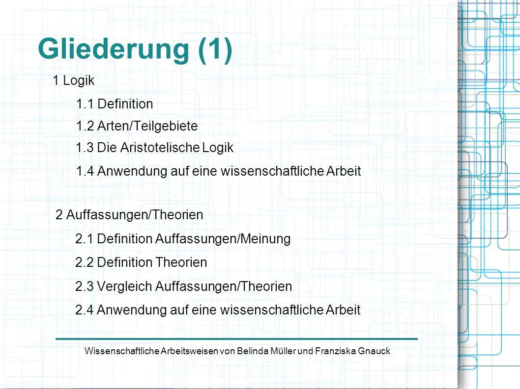 Gliederung (2) 3 Analyse/Synthese 3.1 Definition Analyse 3.2 Definition Synthese 3.3 Vergleich Analyse/Synthese 3.4 Anwendung auf eine wissenschaftliche Arbeit 4 Quellen Wissenschaftliche Arbeitsweisen von Belinda Müller und Franziska Gnauck