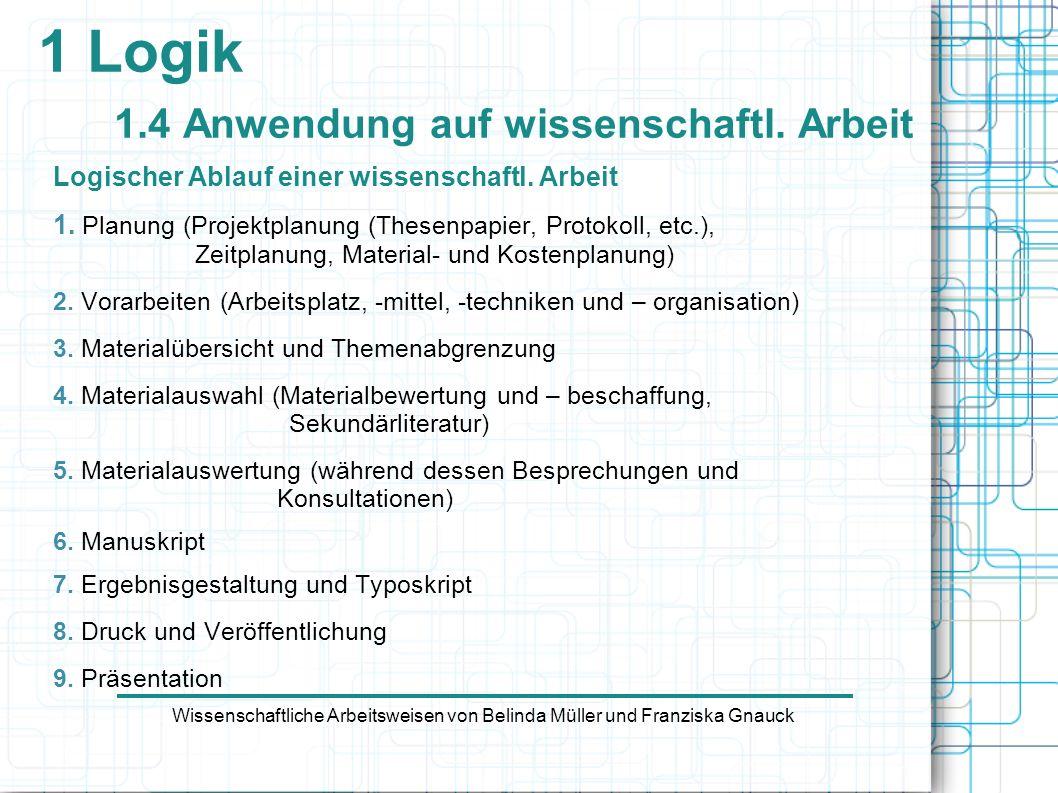 Logischer Ablauf einer wissenschaftl. Arbeit 1. Planung (Projektplanung (Thesenpapier, Protokoll, etc.), Zeitplanung, Material- und Kostenplanung) 2.