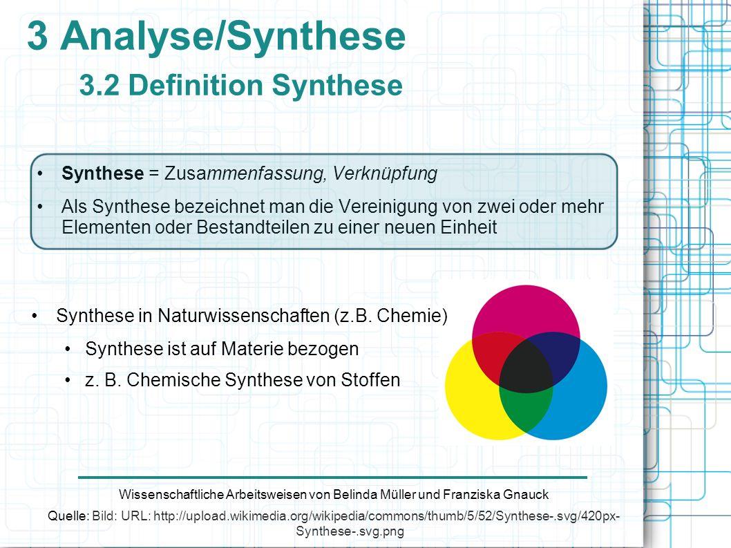 3 Analyse/Synthese 3.2 Definition Synthese Wissenschaftliche Arbeitsweisen von Belinda Müller und Franziska Gnauck Quelle: Bild: URL: http://upload.wi