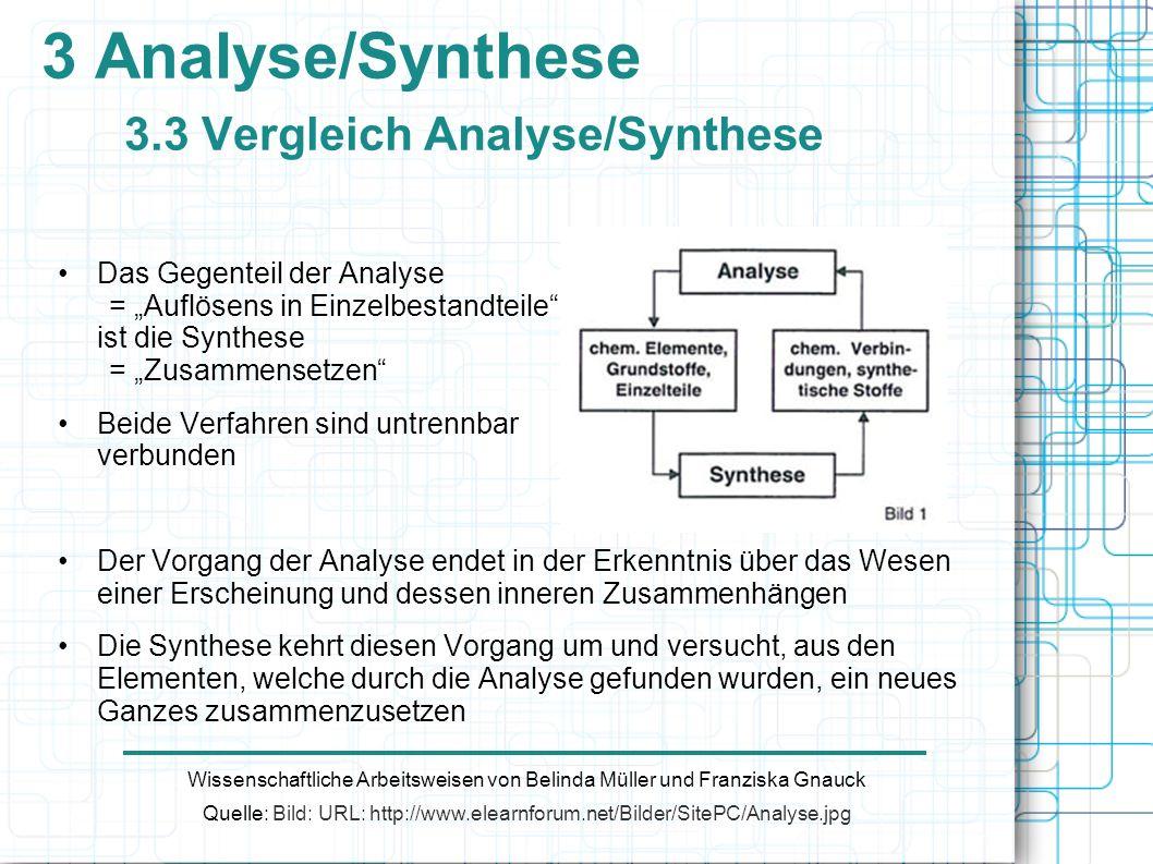 3 Analyse/Synthese 3.3 Vergleich Analyse/Synthese Wissenschaftliche Arbeitsweisen von Belinda Müller und Franziska Gnauck Quelle: Bild: URL: http://ww