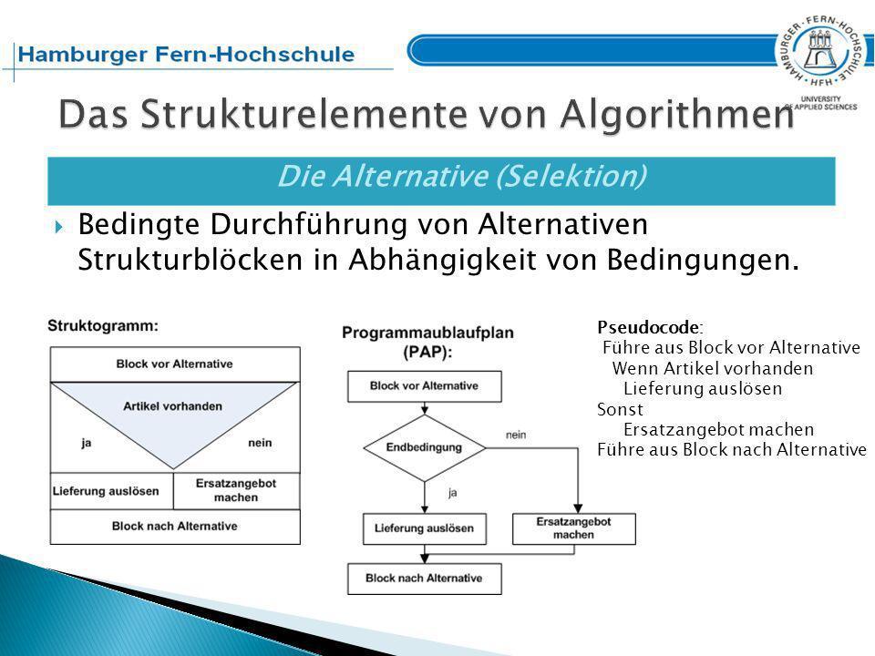 Die Mehrfachalternative Bei einer Fallunterscheidung wird genau der Strukturblock ausgeführt, bei dem die Bedingung zutrifft.