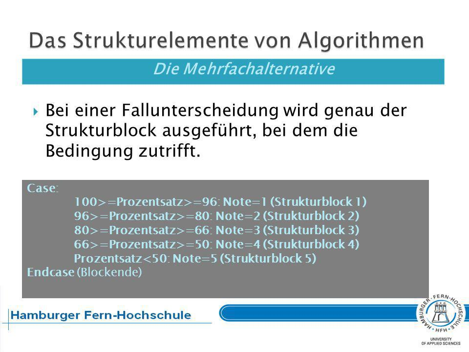 Die Mehrfachalternative Pseudocode: Führe aus BLOCK_VOR_ALTERNATIVE Fall: D<=7: Skonto gewähren Fall: D<=28: Bruttobetrag Sonst: Verzugszinsen Führe aus BLOCK_NACH_Alternative