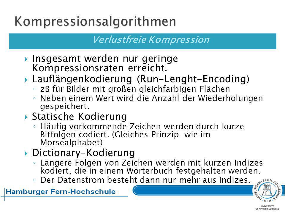 Verlustbehaftete Kompression Das wieder dekomprimierte Dokument (Bild, Text, Audio, Video) entspricht nicht mehr dem Original.