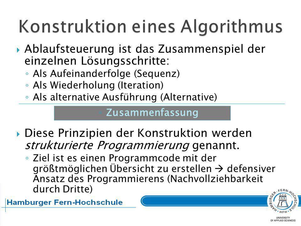 Eine Prozedur kann durch Auswahl des Algorithmus mit dem günstigsten Zeitverhalten optimiert werden.