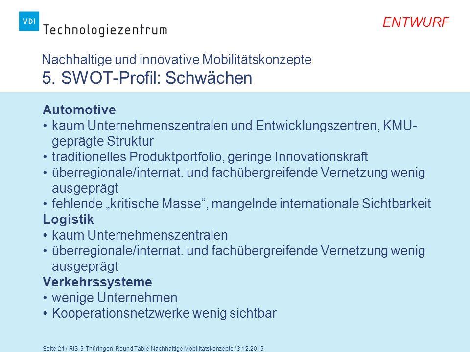 ENTWURF Seite 22 / RIS 3-Thüringen Round Table Nachhaltige Mobilitätskonzepte / 3.12.2013 Nachhaltige und innovative Mobilitätskonzepte 4.