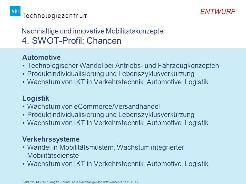 ENTWURF Seite 23 / RIS 3-Thüringen Round Table Nachhaltige Mobilitätskonzepte / 3.12.2013 Nachhaltige und innovative Mobilitätskonzepte 4.