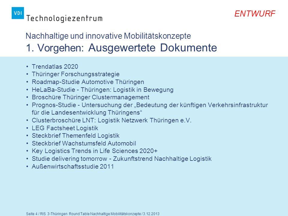 ENTWURF Seite 5 / RIS 3-Thüringen Round Table Nachhaltige Mobilitätskonzepte / 3.12.2013 Nachhaltige Energie und Ressourcenverwendung 2.