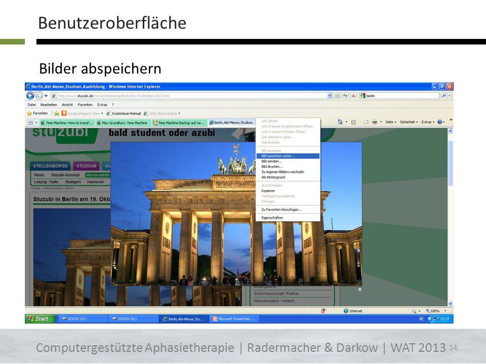 Googlebildersuche Computergestützte Aphasietherapie | Radermacher & Darkow | WAT 2013 Benutzeroberfläche 13