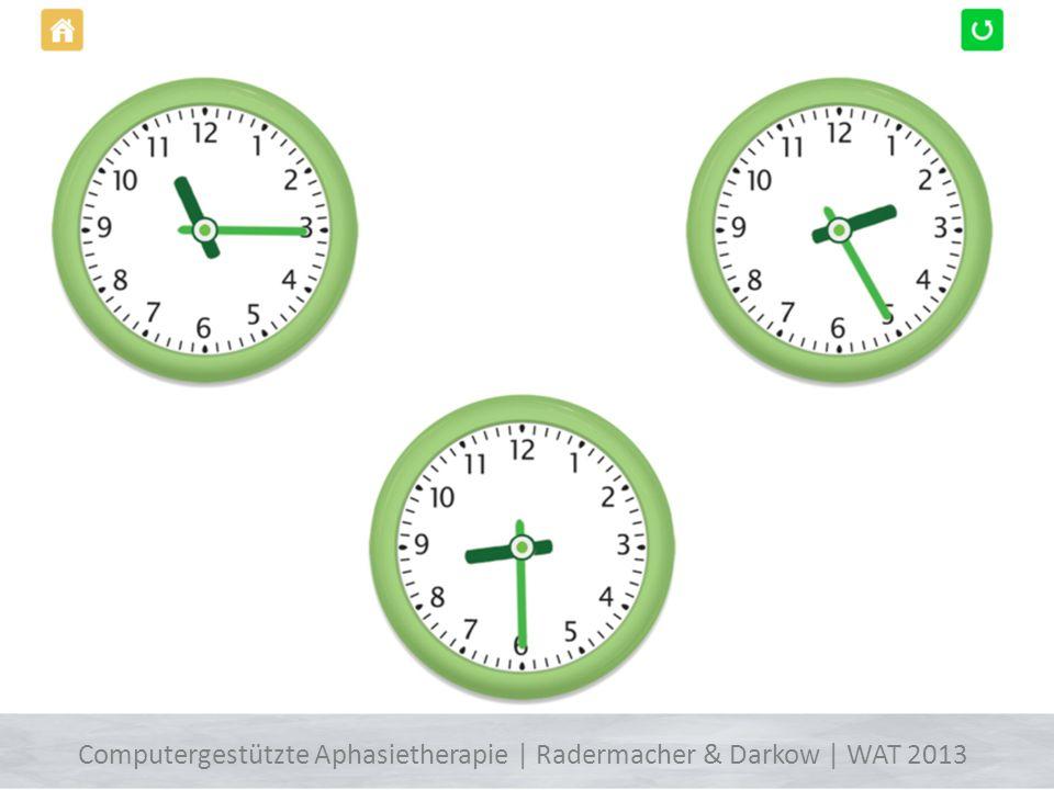 http://therapiebuch.info/ Uhrzeiten verstehen Apps fürs ipad Computergestützte Aphasietherapie | Radermacher & Darkow | WAT 2013