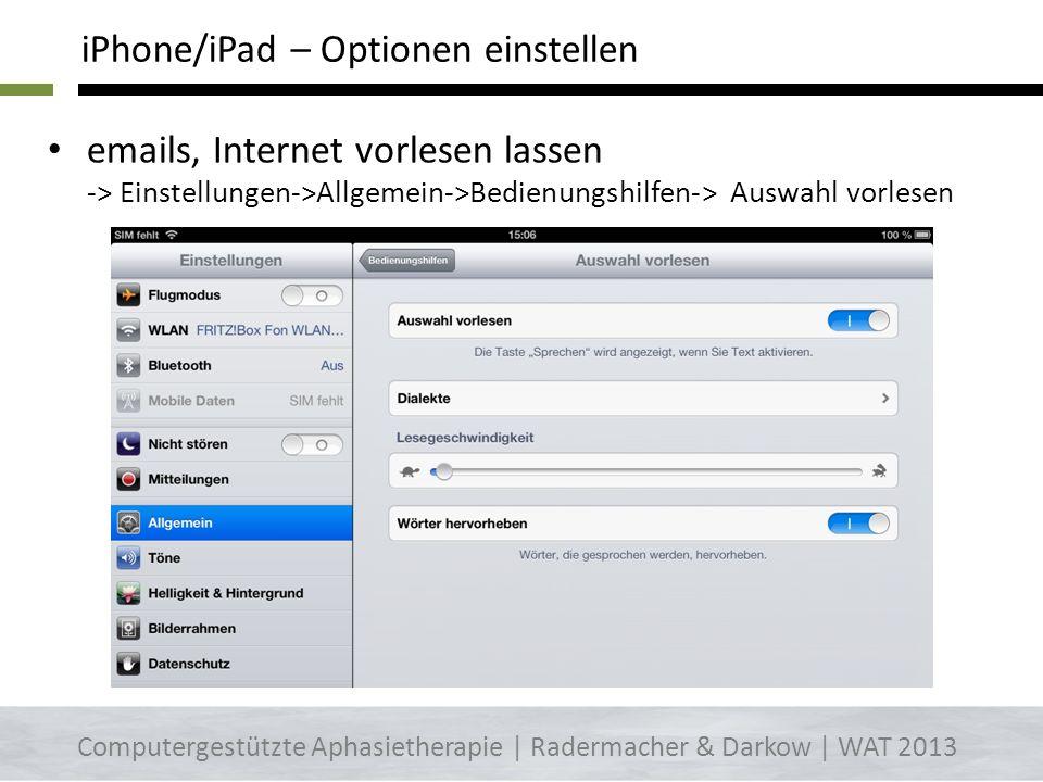 www.dw.de/deutsch-lernen/nachrichten/s-8030 Langsam gesprochene Nachrichten Computergestützte Aphasietherapie | Radermacher & Darkow | WAT 2013