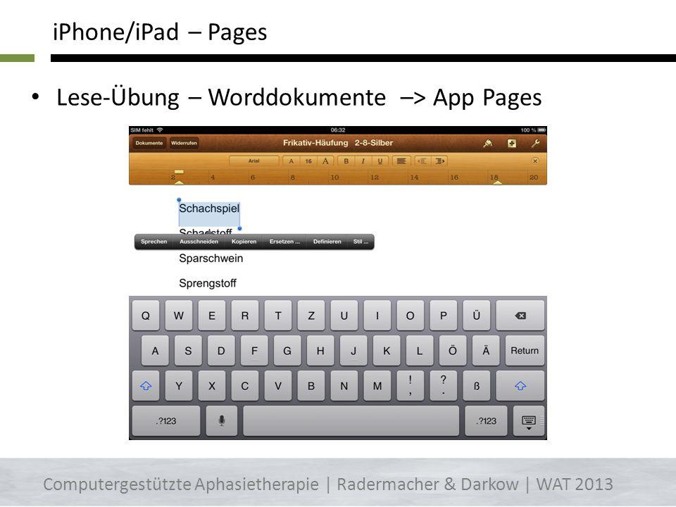 emails, Internet vorlesen lassen -> Einstellungen->Allgemein->Bedienungshilfen-> Auswahl vorlesen iPhone/iPad – Optionen einstellen Computergestützte