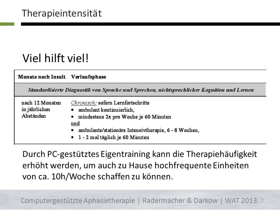 ALLGEMEINE HINWEISE Therapieintensität Therapiemöglichkeiten Unmittelbarkeit Tagesplan Rollenambiguitätstoleranz 6 Computergestützte Aphasietherapie |