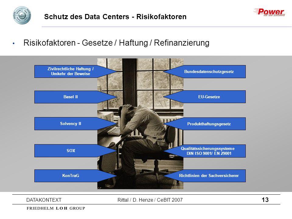 13 DATAKONTEXT Rittal / D. Henze / CeBIT 2007 Schutz des Data Centers - Risikofaktoren EU-Gesetze Produkthaftungsgesetz Qualitätssicherungssysteme DIN