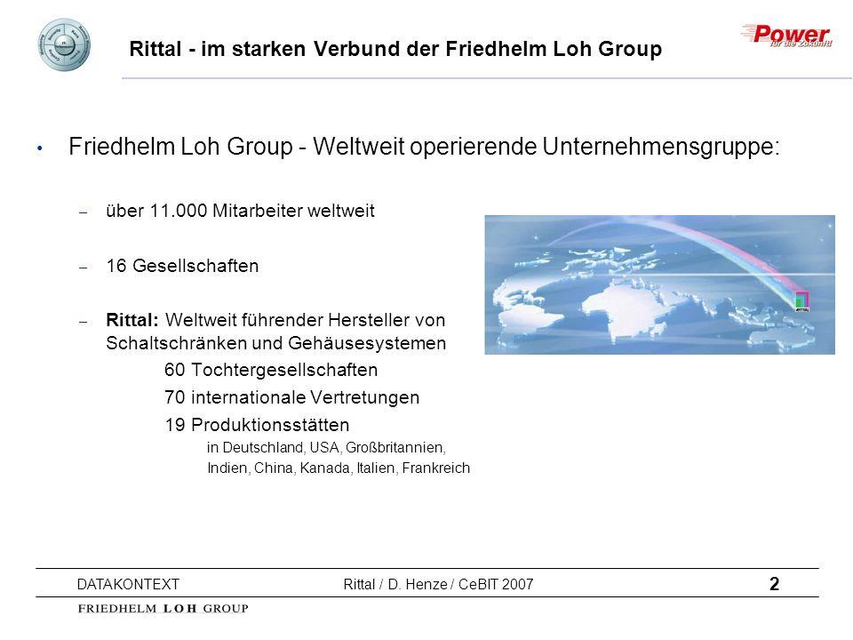 2 DATAKONTEXT Rittal / D. Henze / CeBIT 2007 Rittal - im starken Verbund der Friedhelm Loh Group Friedhelm Loh Group - Weltweit operierende Unternehme