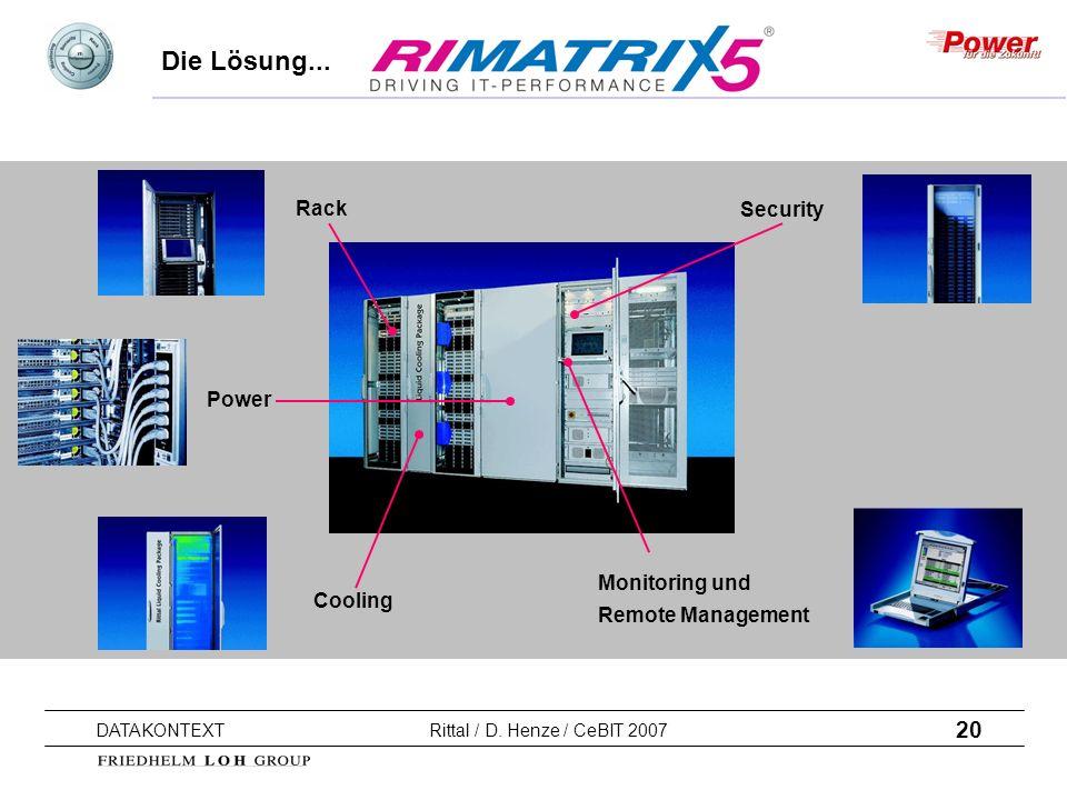 20 DATAKONTEXT Rittal / D. Henze / CeBIT 2007 Die Lösung... Rack Power Cooling Security Monitoring und Remote Management