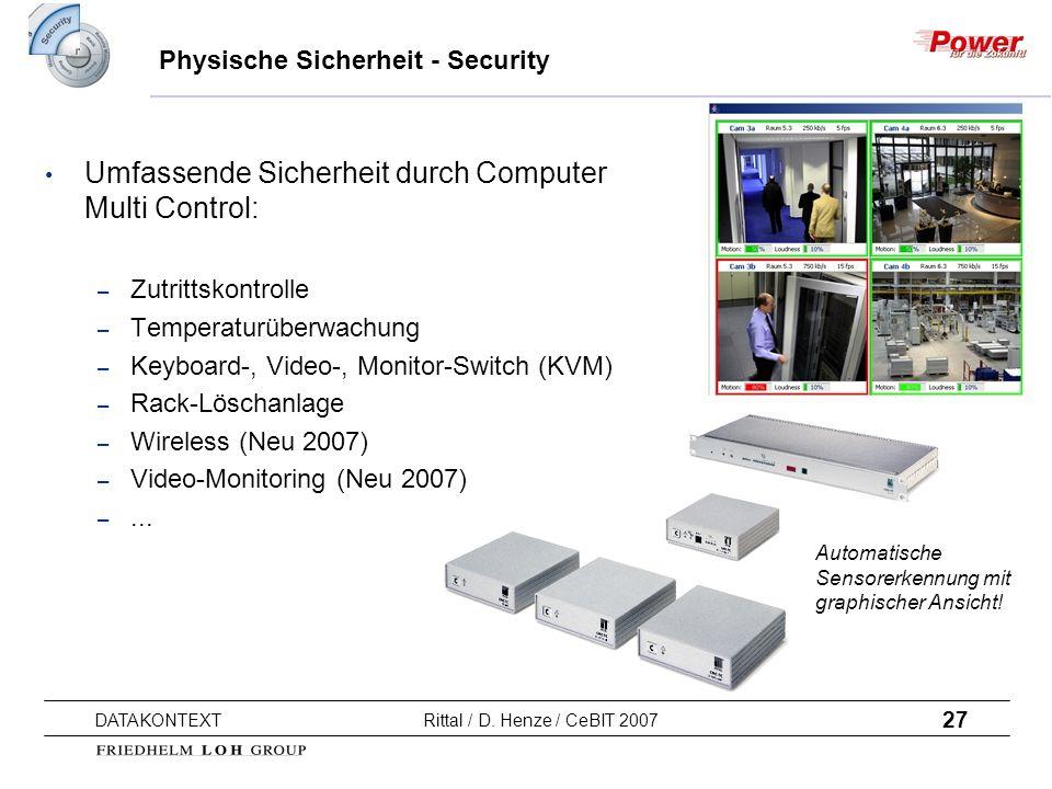 27 DATAKONTEXT Rittal / D. Henze / CeBIT 2007 Automatische Sensorerkennung mit graphischer Ansicht! Physische Sicherheit - Security Umfassende Sicherh