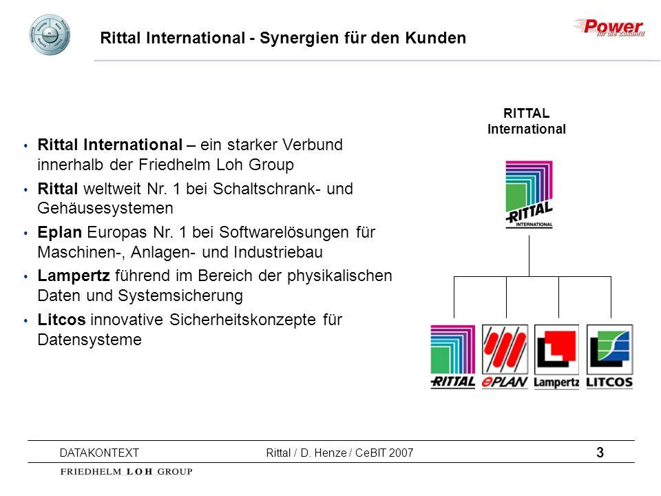 3 DATAKONTEXT Rittal / D. Henze / CeBIT 2007 Rittal International - Synergien für den Kunden Rittal International – ein starker Verbund innerhalb der