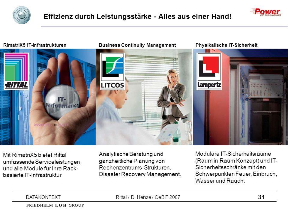 31 DATAKONTEXT Rittal / D. Henze / CeBIT 2007 Effizienz durch Leistungsstärke - Alles aus einer Hand! Mit RimatriX5 bietet Rittal umfassende Servicele