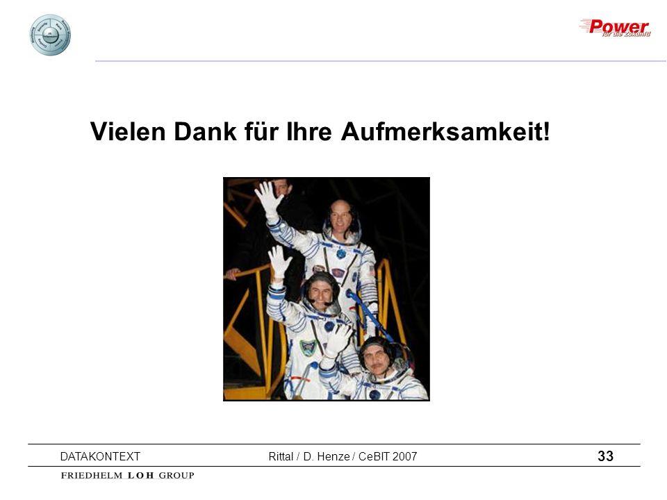 33 DATAKONTEXT Rittal / D. Henze / CeBIT 2007 Vielen Dank für Ihre Aufmerksamkeit!