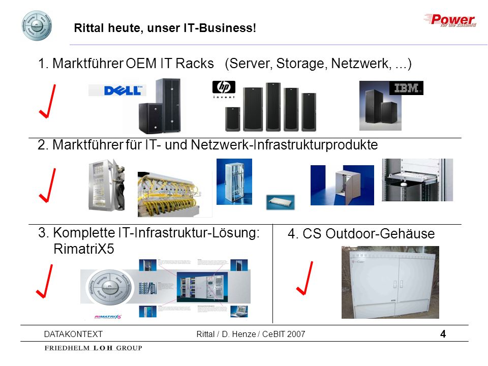 4 DATAKONTEXT Rittal / D. Henze / CeBIT 2007 Rittal heute, unser IT-Business! 1. Marktführer OEM IT Racks (Server, Storage, Netzwerk,...) 2. Marktführ