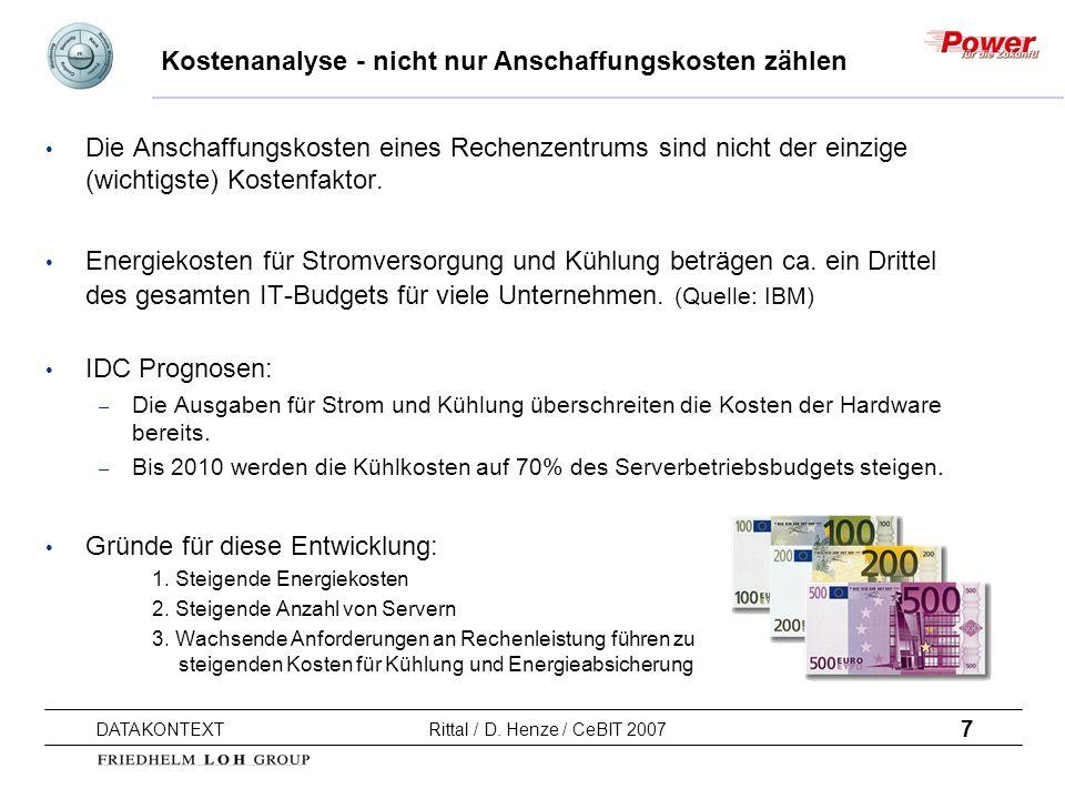 7 DATAKONTEXT Rittal / D. Henze / CeBIT 2007 Kostenanalyse - nicht nur Anschaffungskosten zählen Die Anschaffungskosten eines Rechenzentrums sind nich