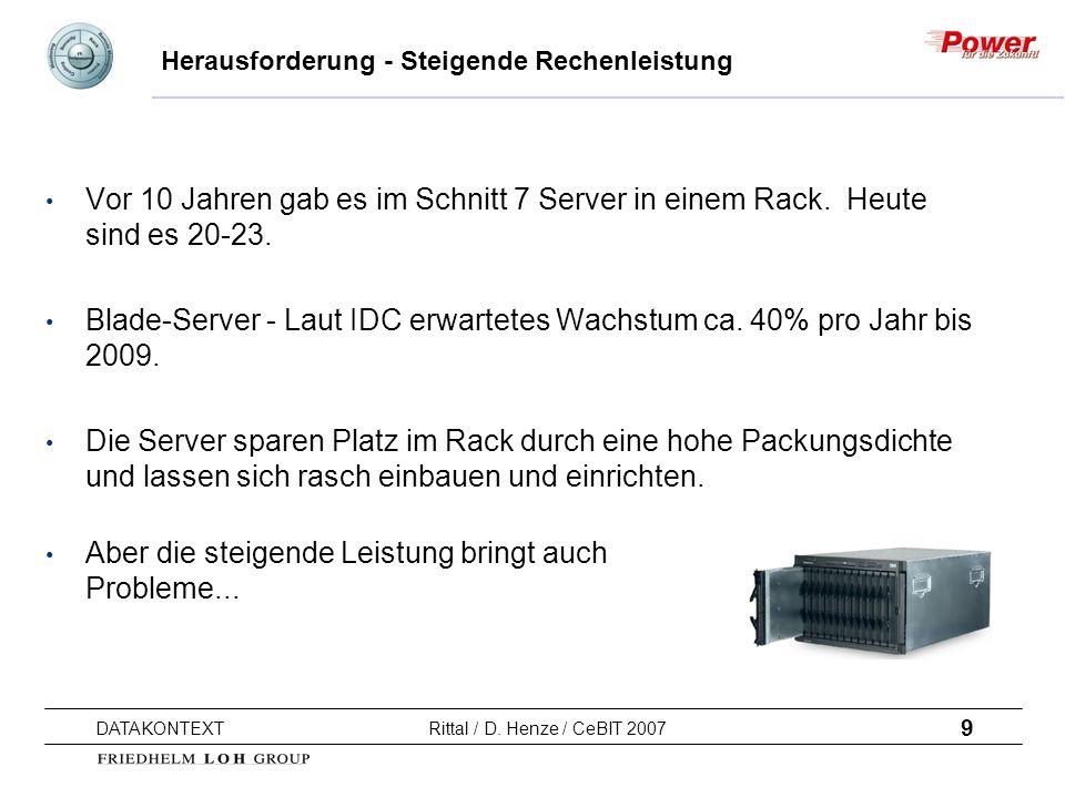 9 DATAKONTEXT Rittal / D. Henze / CeBIT 2007 Herausforderung - Steigende Rechenleistung Vor 10 Jahren gab es im Schnitt 7 Server in einem Rack. Heute