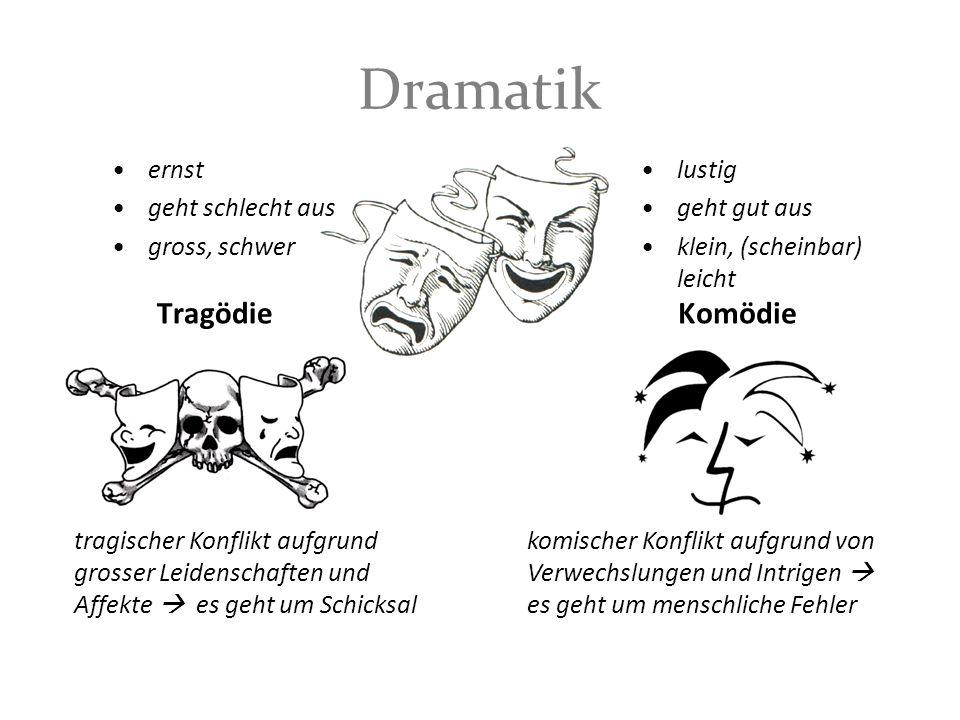 Dramatik Tragödie ernst geht schlecht aus gross, schwer Komödie lustig geht gut aus klein, (scheinbar) leicht tragischer Konflikt aufgrund grosser Lei