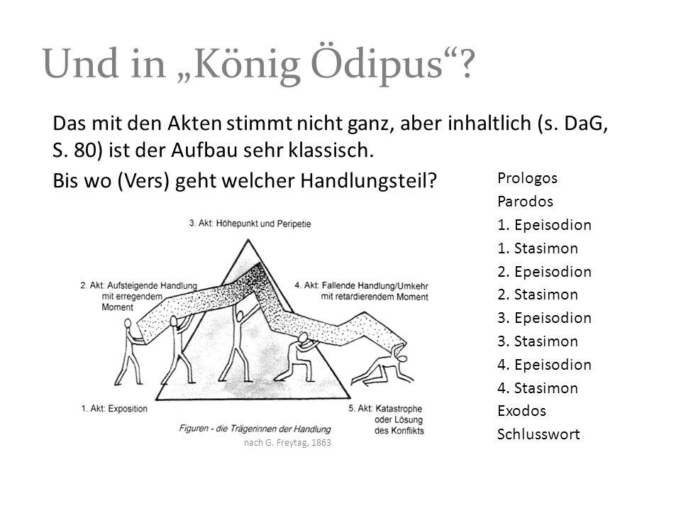 Und in König Ödipus? nach G. Freytag, 1863 Das mit den Akten stimmt nicht ganz, aber inhaltlich (s. DaG, S. 80) ist der Aufbau sehr klassisch. Bis wo