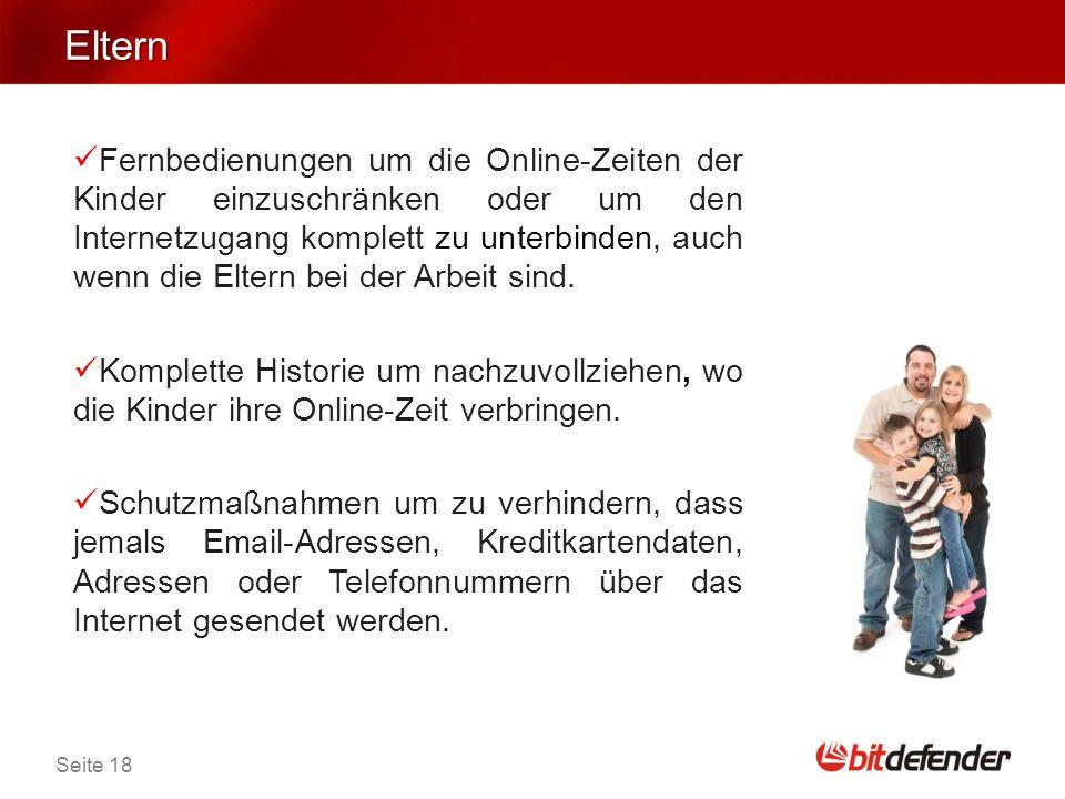 Seite 18 Eltern Fernbedienungen um die Online-Zeiten der Kinder einzuschränken oder um den Internetzugang komplett zu unterbinden, auch wenn die Eltern bei der Arbeit sind.