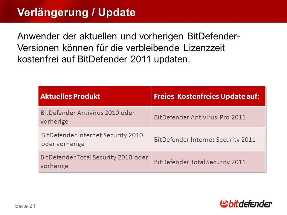 Seite 21 Verlängerung / Update Anwender der aktuellen und vorherigen BitDefender- Versionen können für die verbleibende Lizenzzeit kostenfrei auf BitDefender 2011 updaten.