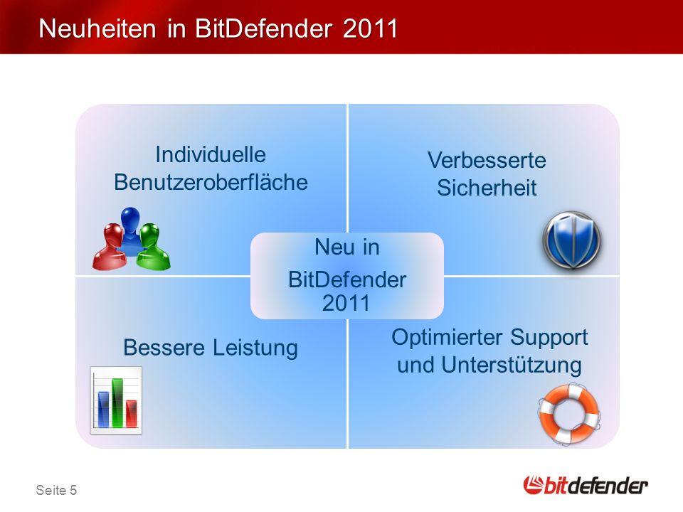 Seite 5 Neuheiten in BitDefender 2011 Neu in BitDefender 2011 Verbesserte Sicherheit Individuelle Benutzeroberfläche Bessere Leistung Optimierter Support und Unterstützung