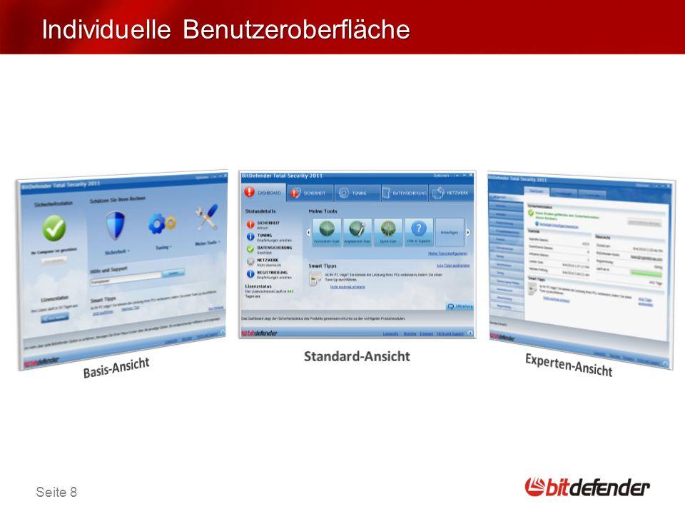 Seite 9 Verbesserte Sicherheit NEU BitDefender Quick Scan - entdeckt Malware- Aktivitäten durch die Nutzung der in-the-cloud- Technologie.