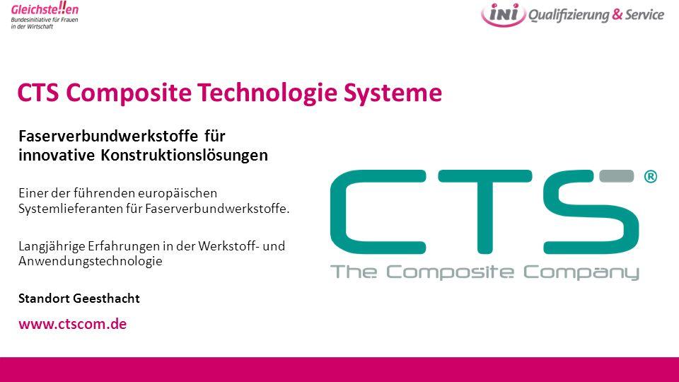 CTS Composite Technologie Systeme Faserverbundwerkstoffe für innovative Konstruktionslösungen Einer der führenden europäischen Systemlieferanten für F