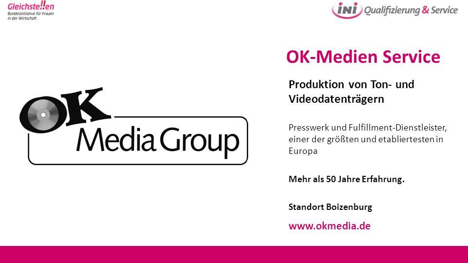 OK-Medien Service Produktion von Ton- und Videodatenträgern Presswerk und Fulfillment-Dienstleister, einer der größten und etabliertesten in Europa Me