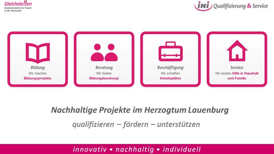 Nachhaltige Projekte im Herzogtum Lauenburg qualifizieren – fördern – unterstützen innovativ nachhaltig individuell