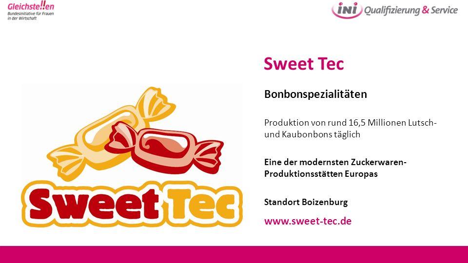 Sweet Tec Bonbonspezialitäten Produktion von rund 16,5 Millionen Lutsch- und Kaubonbons täglich Eine der modernsten Zuckerwaren- Produktionsstätten Eu