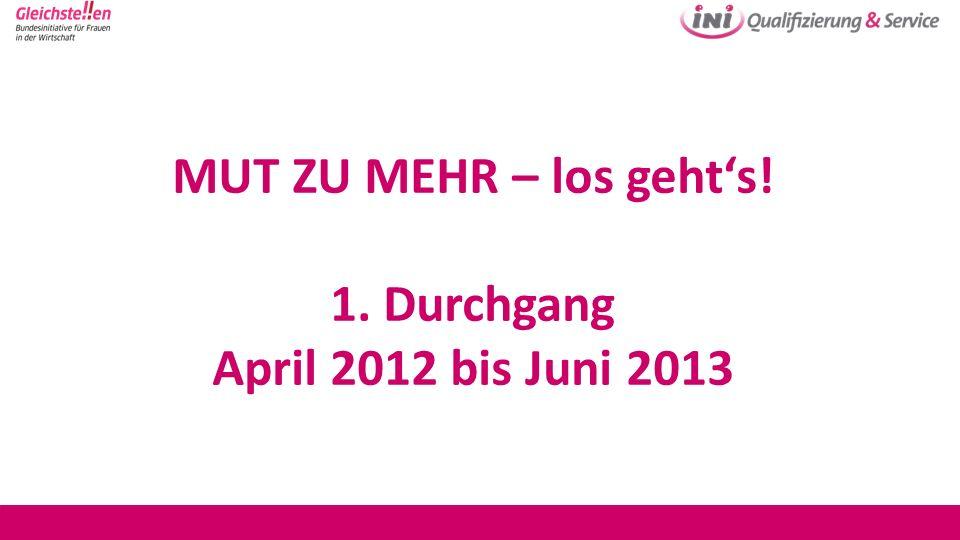 MUT ZU MEHR – los gehts! 1. Durchgang April 2012 bis Juni 2013