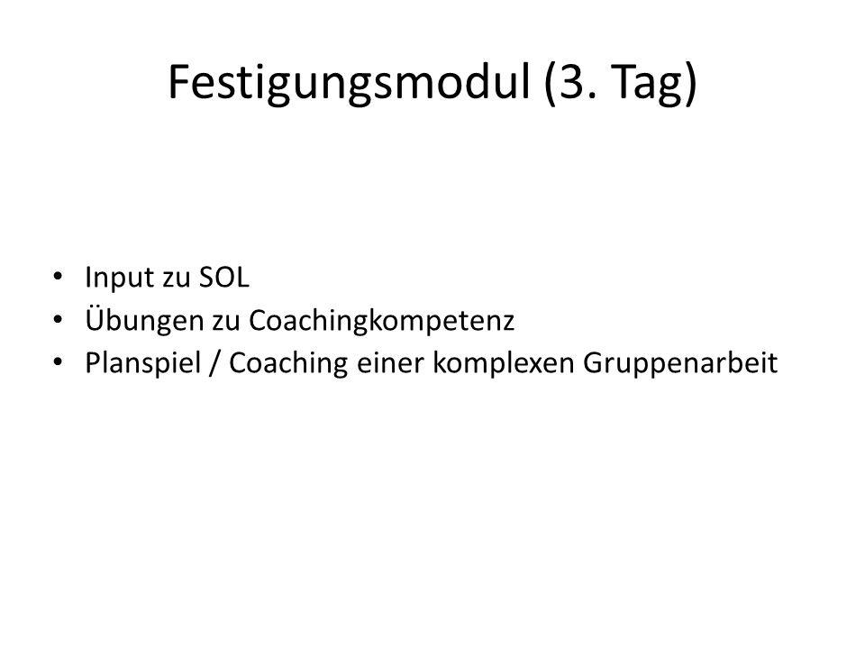 Festigungsmodul (3. Tag) Input zu SOL Übungen zu Coachingkompetenz Planspiel / Coaching einer komplexen Gruppenarbeit
