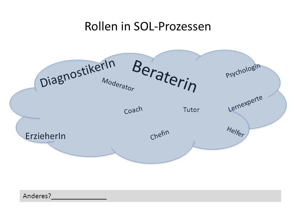 Rollen in SOL-Prozessen DiagnostikerIn Moderator Beraterin Psychologin Coach Tutor Lernexperte ErzieherIn Helfer Chefin Anderes?_______________
