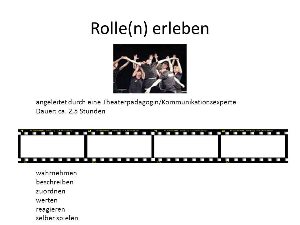 Rolle(n) erleben angeleitet durch eine Theaterpädagogin/Kommunikationsexperte Dauer: ca. 2,5 Stunden wahrnehmen beschreiben zuordnen werten reagieren