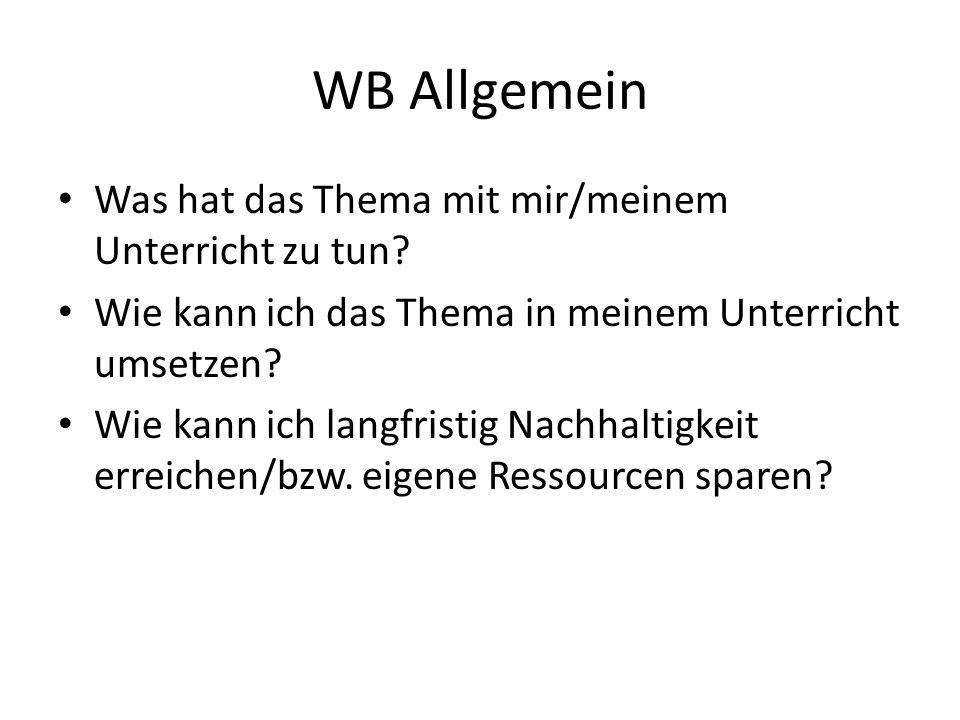 WB Allgemein Was hat das Thema mit mir/meinem Unterricht zu tun? Wie kann ich das Thema in meinem Unterricht umsetzen? Wie kann ich langfristig Nachha