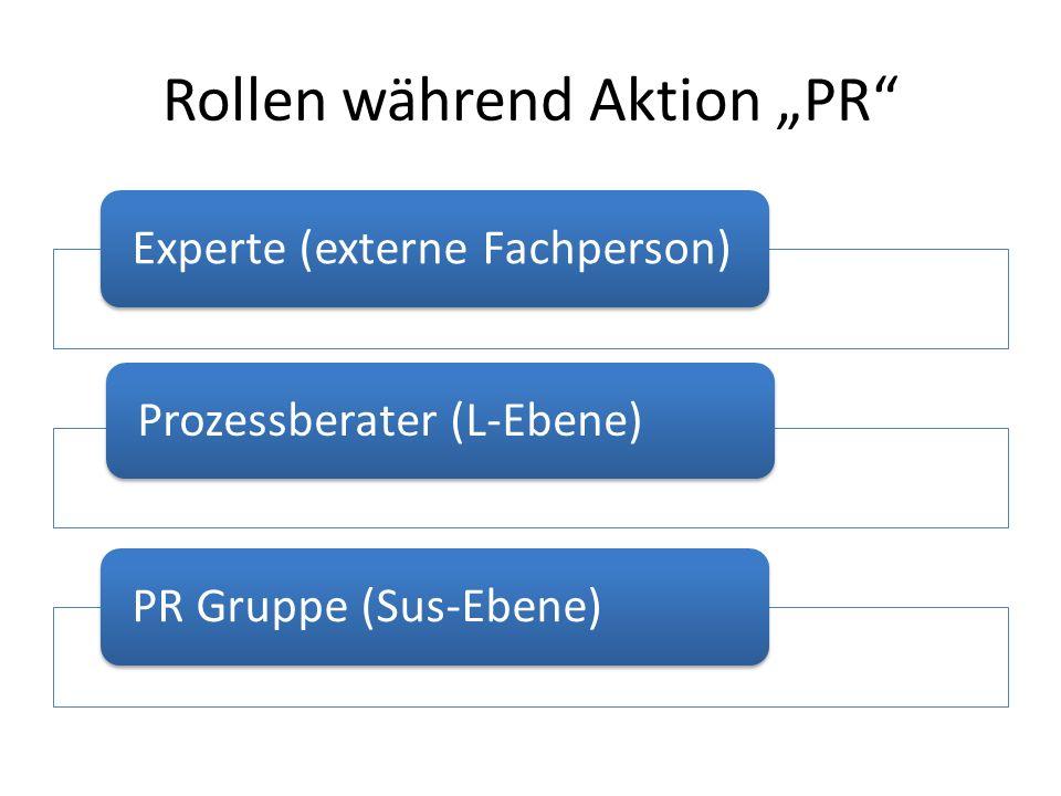 Rollen während Aktion PR Experte (externe Fachperson)Prozessberater (L-Ebene)PR Gruppe (Sus-Ebene)