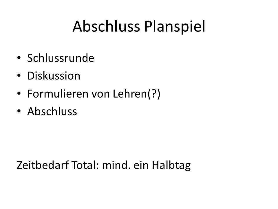 Abschluss Planspiel Schlussrunde Diskussion Formulieren von Lehren(?) Abschluss Zeitbedarf Total: mind. ein Halbtag
