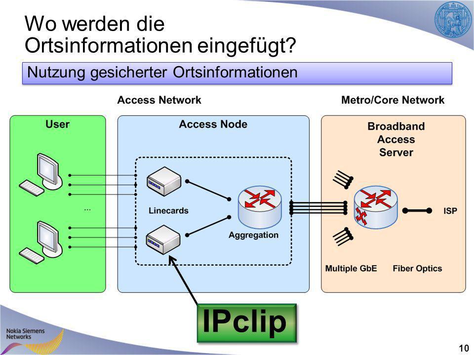 Wo werden die Ortsinformationen eingefügt 10 IPclip Nutzung gesicherter Ortsinformationen