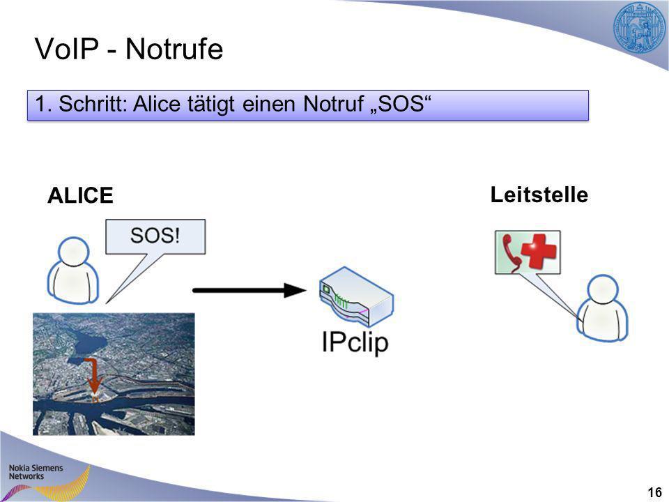 VoIP - Notrufe 16 ALICE Leitstelle 1. Schritt: Alice tätigt einen Notruf SOS