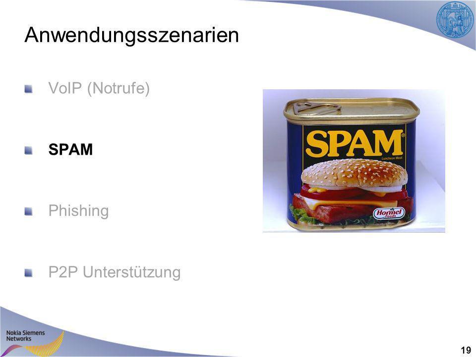 Anwendungsszenarien VoIP (Notrufe) SPAM Phishing P2P Unterstützung 19