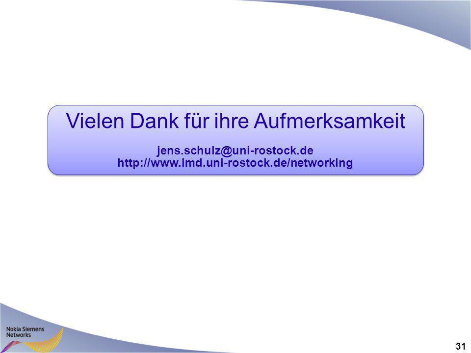 31 Vielen Dank für ihre Aufmerksamkeit jens.schulz@uni-rostock.de http://www.imd.uni-rostock.de/networking Vielen Dank für ihre Aufmerksamkeit jens.schulz@uni-rostock.de http://www.imd.uni-rostock.de/networking