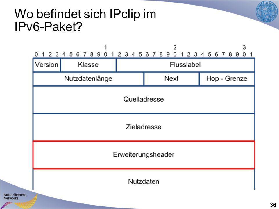 Wo befindet sich IPclip im IPv6-Paket 36