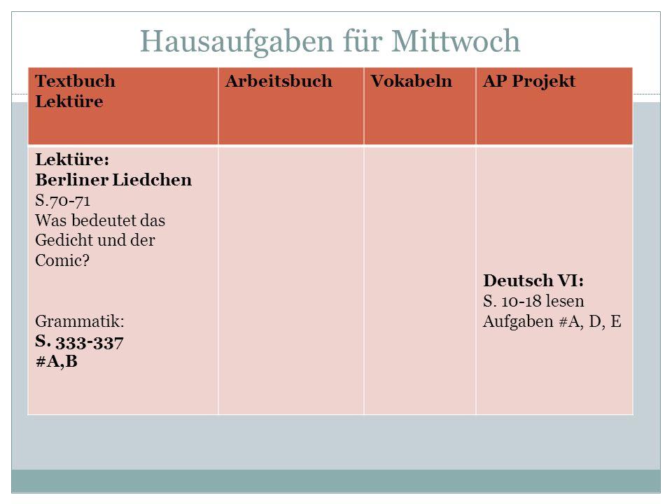 Hausaufgaben für Mittwoch Textbuch Lektüre ArbeitsbuchVokabelnAP Projekt Lektüre: Berliner Liedchen S.70-71 Was bedeutet das Gedicht und der Comic? Gr